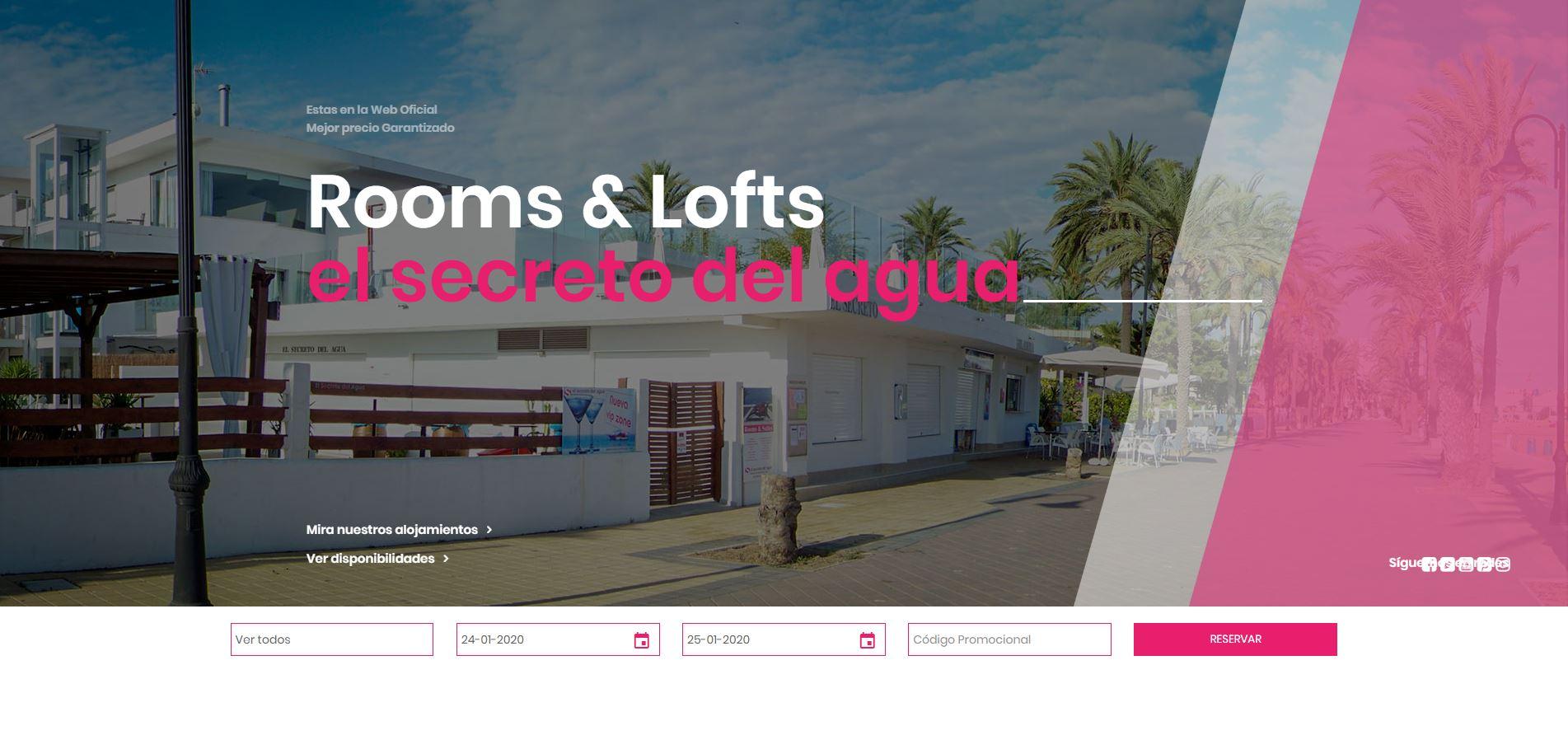 Ejemplo diseño web para hoteles - El secreto del agua