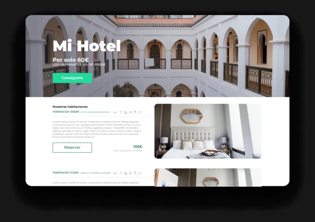 Diseño de páginas web para hoteles, apartamentos turísticos, casas y villas